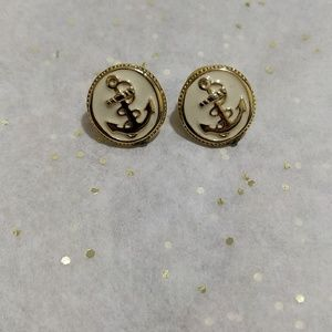 Vintage anchor button earrings